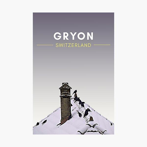 Gryon Winter - Switzerland Vintage Travel art Photographic Print