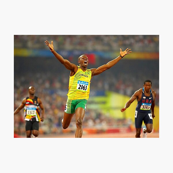 Usain Bolt winning Photographic Print