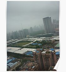 A soccer pitch surrounded by giants Poster