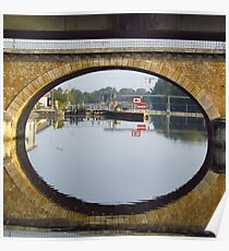 Auxerre - Reflected bridge arch Poster