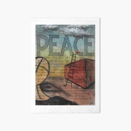 Peace (Kiss of Love) by Claude S. Anything Box. Acrylics, Toner, Synthpop, and Pastels Painting Collage Art Board Print