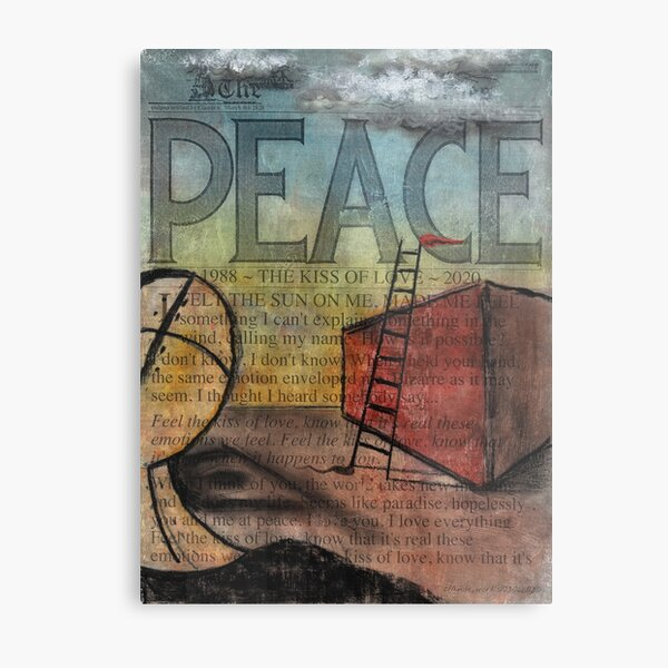 Peace (Kiss of Love) by Claude S. Anything Box. Acrylics, Toner, Synthpop, and Pastels Painting Collage Metal Print