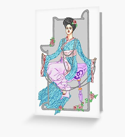China Rose & Pearls Greeting Card