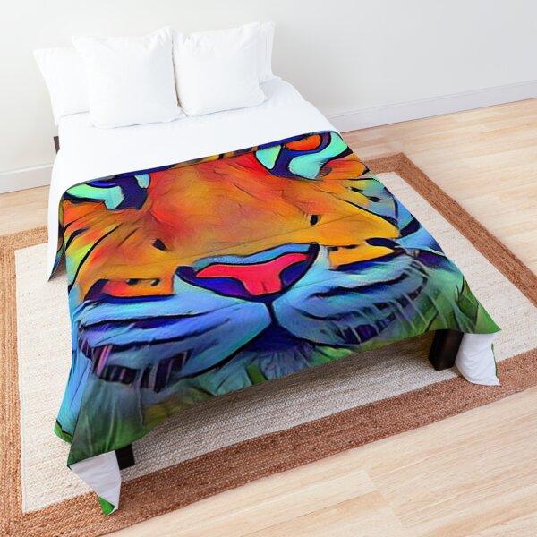vibrant tiger digital painting Comforter