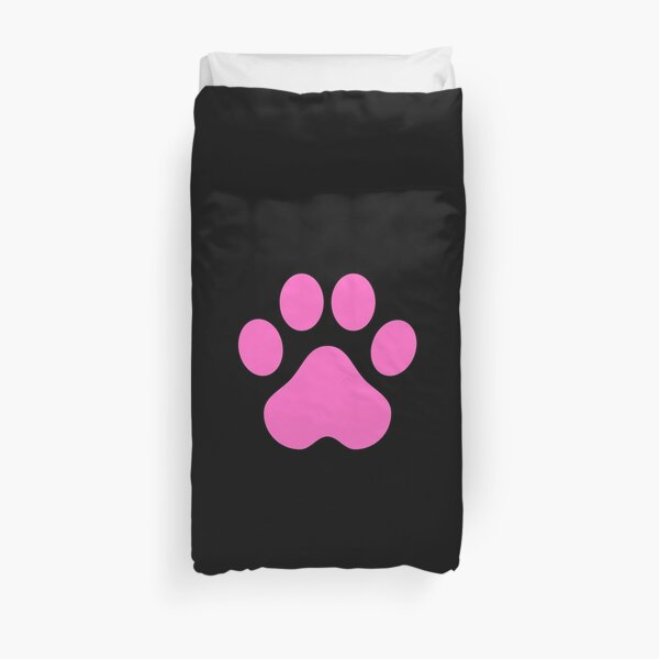 Pink Dog Paw Duvet Cover