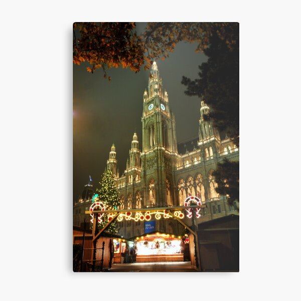 Christmas Market with City hall Metal Print