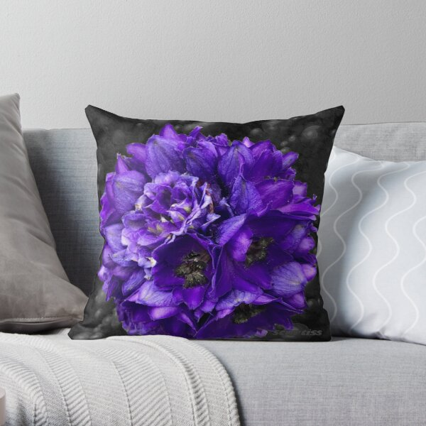 Purple Delphinium Art Fashion and Home Decor Throw Pillow