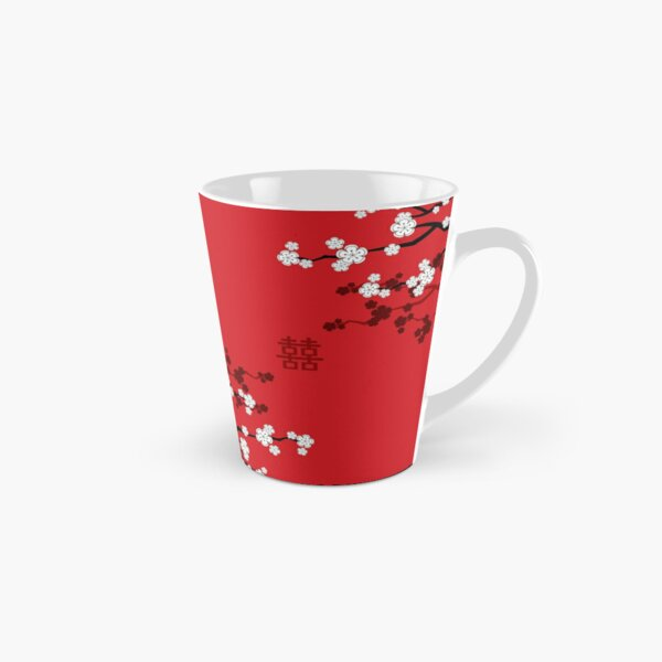 White Oriental Cherry Blossoms on Red and Chinese Wedding Double Happiness | Japanese Sakura © fatfatin  Tall Mug
