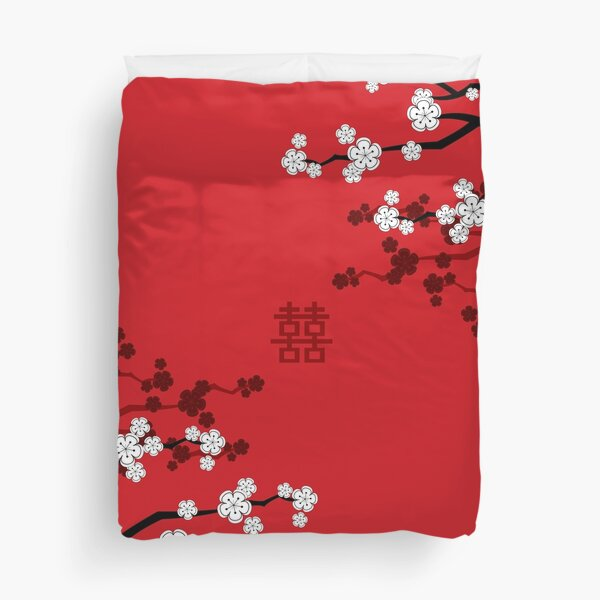 White Oriental Cherry Blossoms on Red and Chinese Wedding Double Happiness | Japanese Sakura © fatfatin  Duvet Cover
