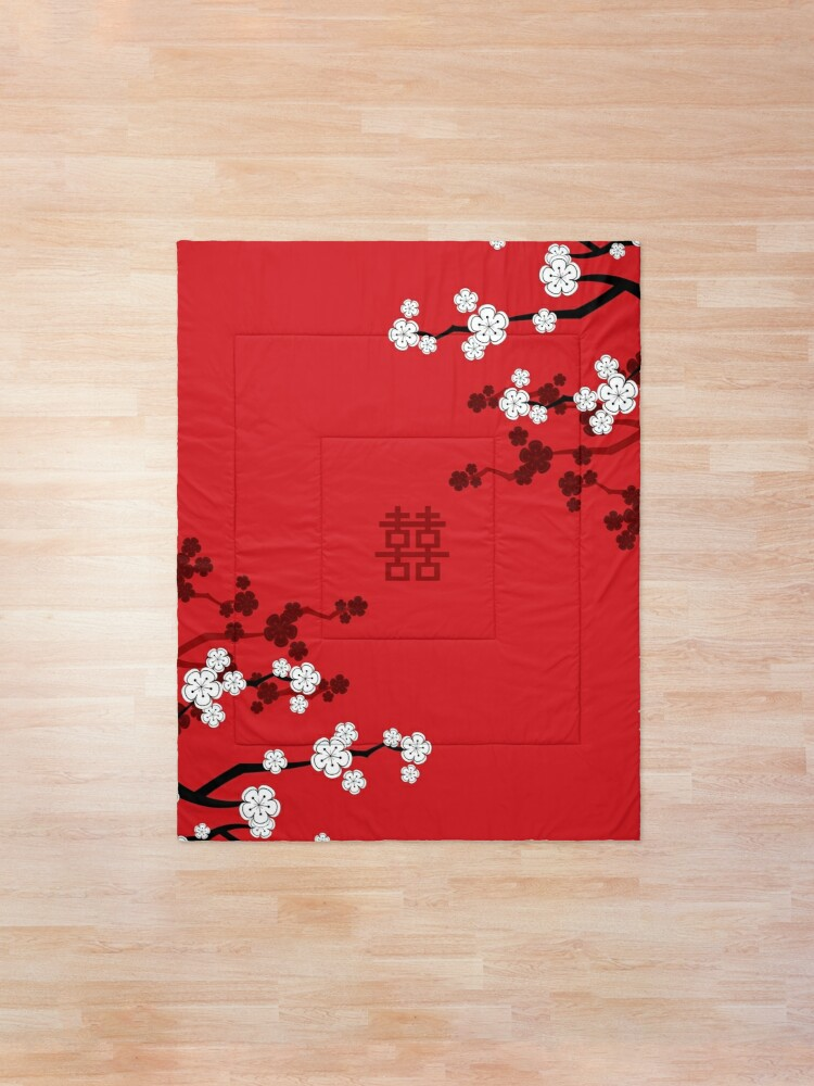 Alternate view of White Oriental Cherry Blossoms on Red and Chinese Wedding Double Happiness | Japanese Sakura © fatfatin  Comforter