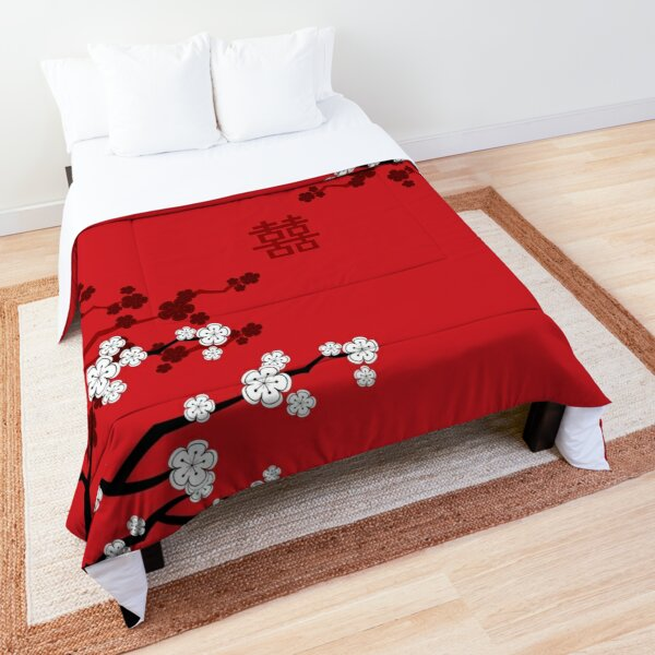White Oriental Cherry Blossoms on Red and Chinese Wedding Double Happiness | Japanese Sakura © fatfatin  Comforter