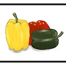 Three Perfect Peppers Watercolor Sketch by Sarah Countiss