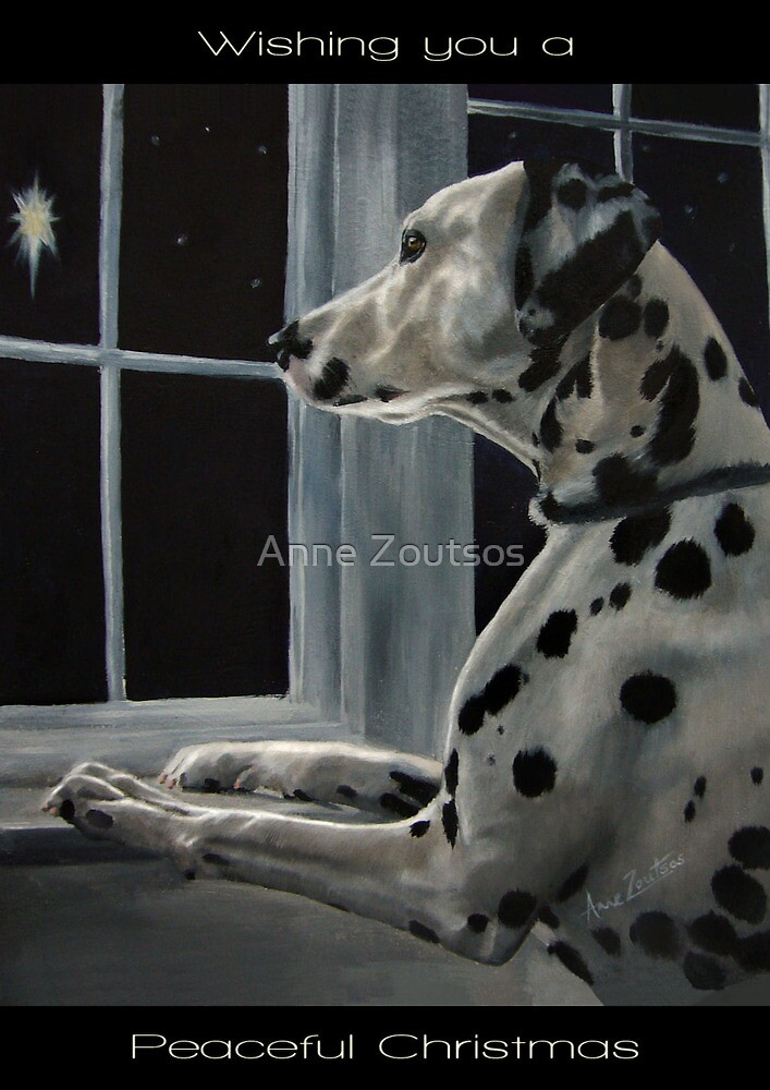 Silent Night (Christmas card with greeting on front) by Anne Zoutsos