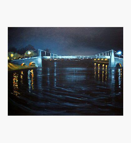 Suspension Bridge by night Photographic Print