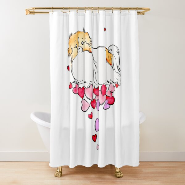 Tibbie Love Tibetan Spaniel Cute Dog Design Shower Curtain