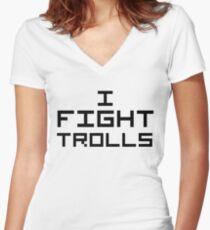 I Fight Trolls Women's Fitted V-Neck T-Shirt
