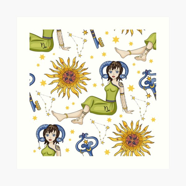 Pisces Zodiac Nymph Pattern Art Print