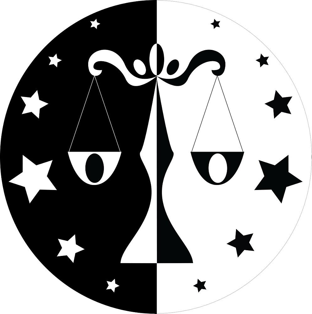Libra - Black and White by Louisa Lawler