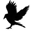 landing crow linoprint by tmoriginals