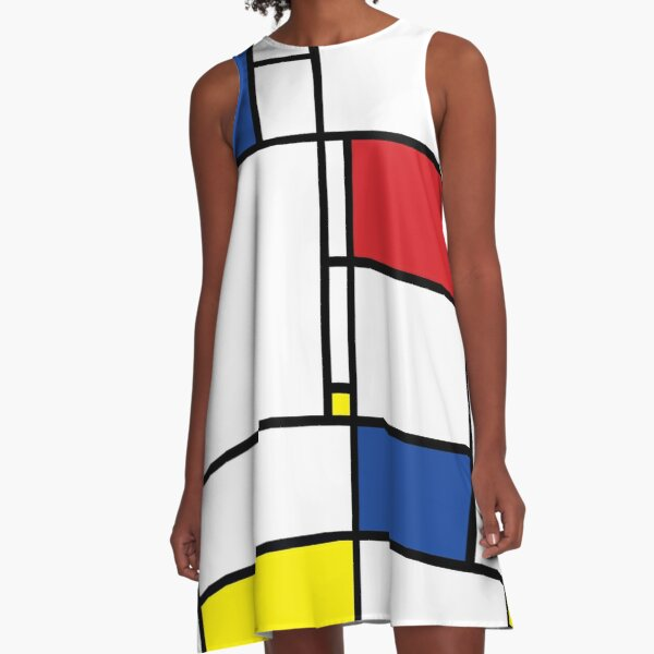 Mondrian Minimalist De Stijl Moderne Kunst I.I © fatfatin A-Linien Kleid