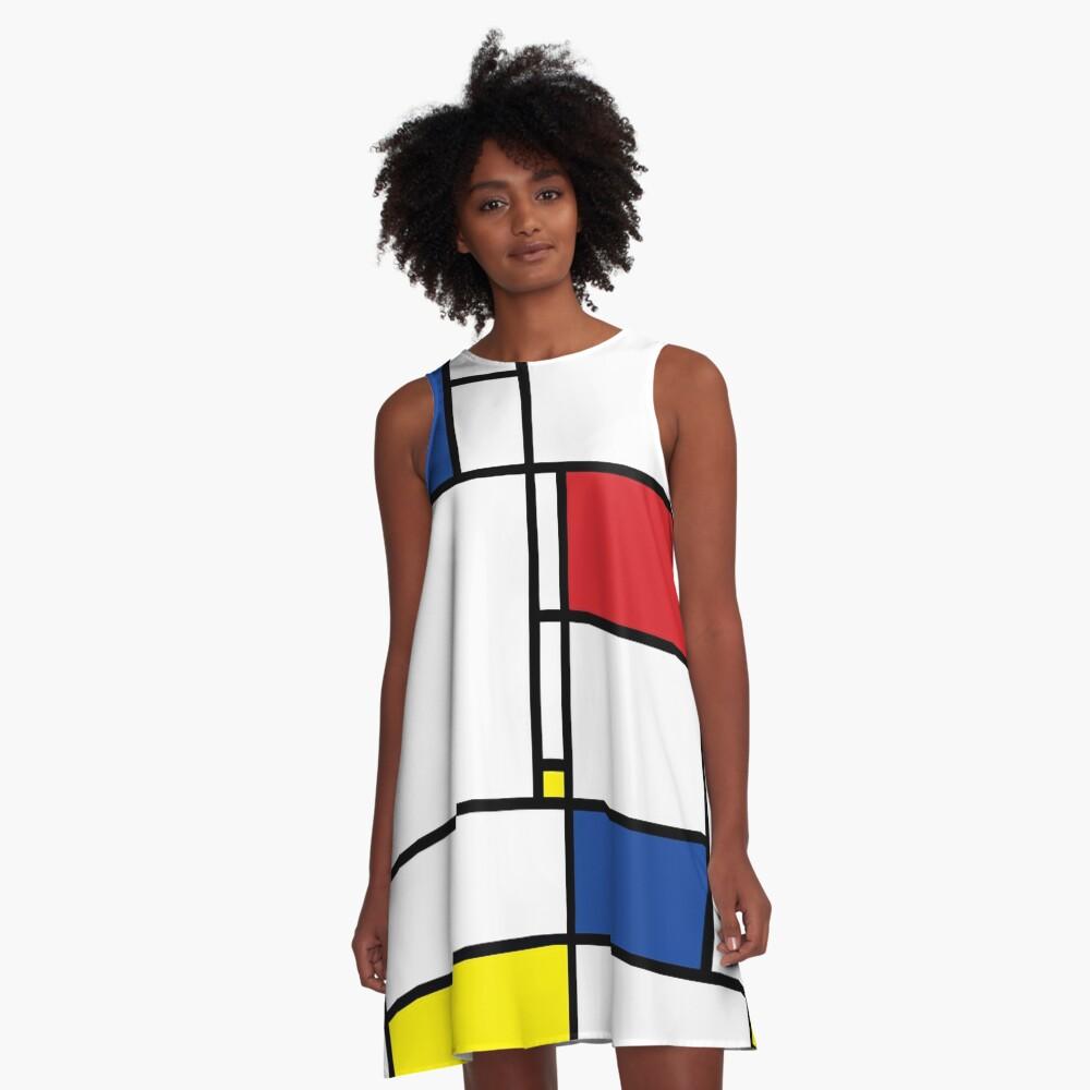 Mondrian Minimalist De Stijl Modern Art I.I © fatfatin A-Line Dress