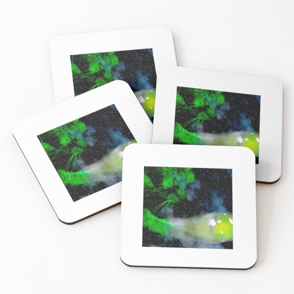 Cosmic Cat at Play Coasters (Set of 4)