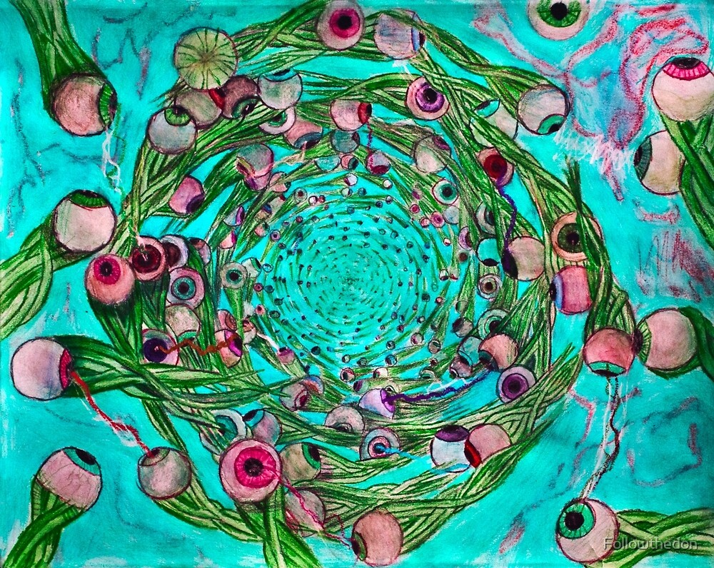whirlpool fury of eyeball creatures with squid sort of body Teal version by Followthedon