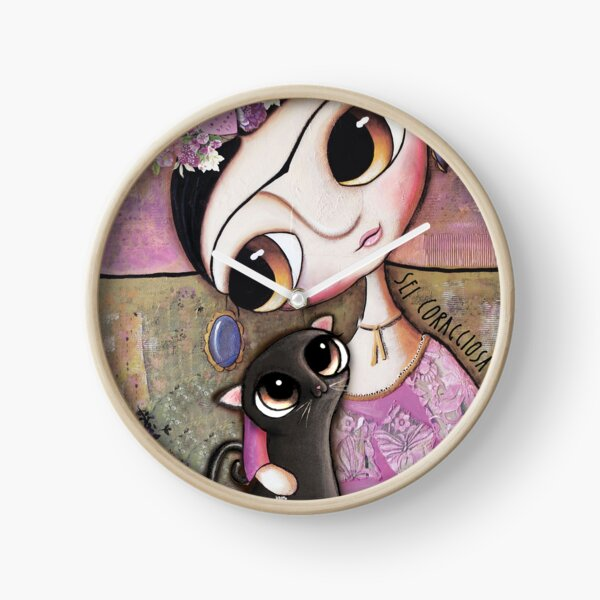Big eyes doll in a pink dress, black cat, flowers on head, art by margherita arrighi Clock