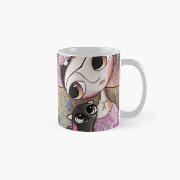 Big eyes doll in a pink dress, black cat, flowers on head, art by margherita arrighi Classic Mug