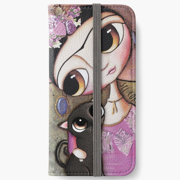 Big eyes doll in a pink dress, black cat, flowers on head, art by margherita arrighi iPhone Wallet