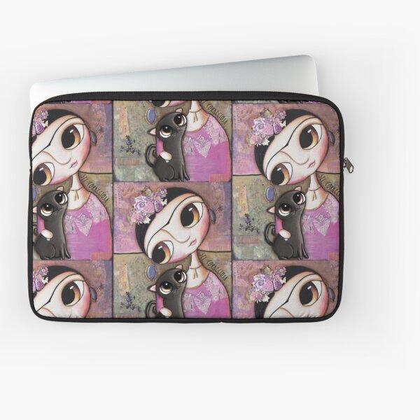 Big eyes doll in a pink dress, black cat, flowers on head, art by margherita arrighi Laptop Sleeve