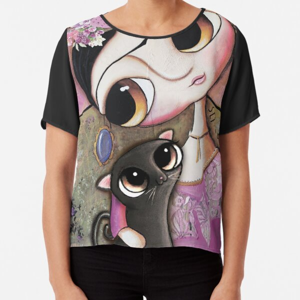 Big eyes doll in a pink dress, black cat, flowers on head, art by margherita arrighi Chiffon Top