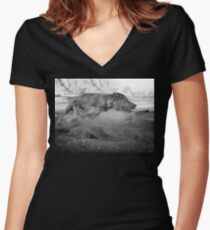 Dogs with game face on .33 Women's Fitted V-Neck T-Shirt