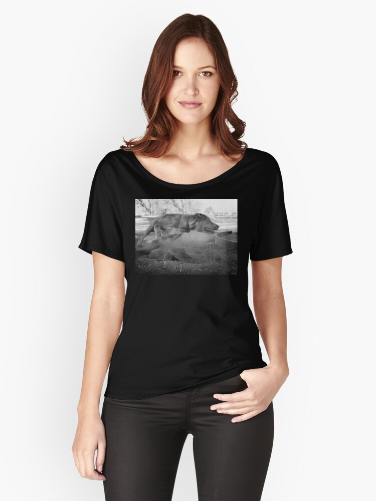 Dogs with game face on .33 Women's Relaxed Fit T-Shirt Front