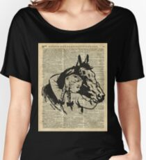 Girl With Horse Illustration over vintage dictionary page Women's Relaxed Fit T-Shirt
