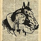 Girl With Horse Illustration over vintage dictionary page by DictionaryArt