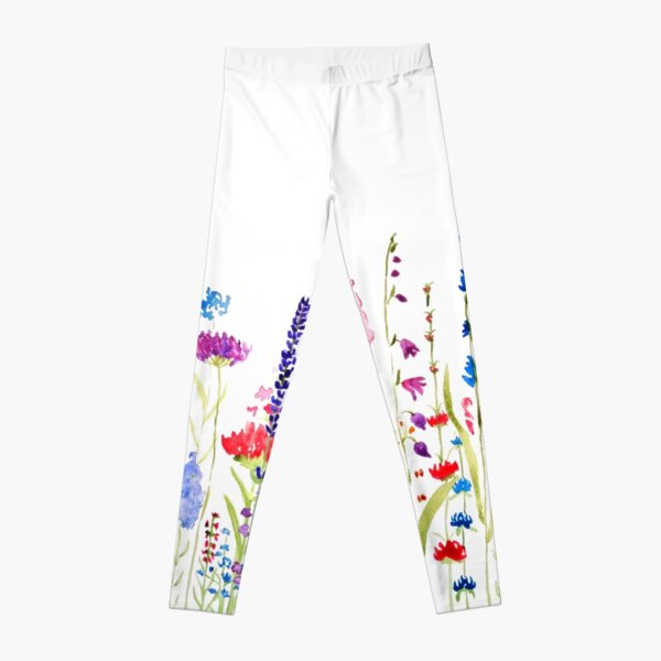 colorful wild flower field  Leggings