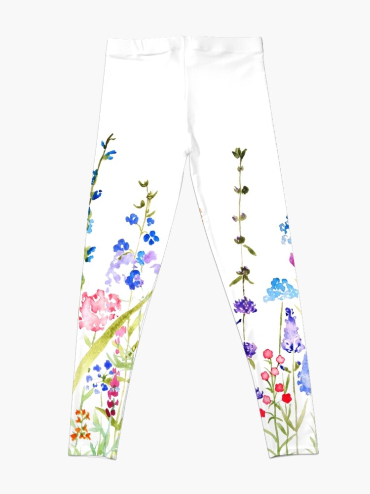 Alternate view of colorful wild flower field  Leggings
