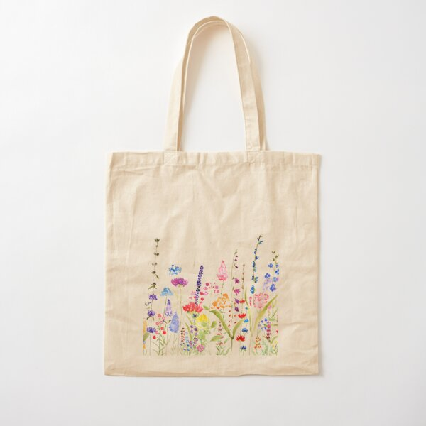 colorful wild flower field  Cotton Tote Bag
