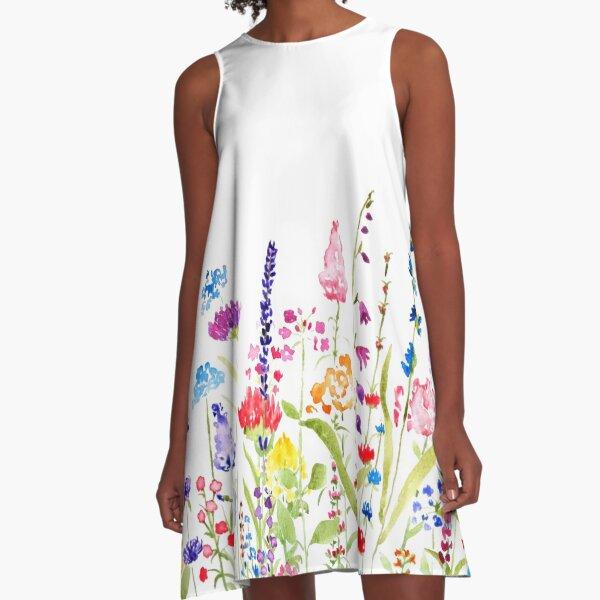 colorful wild flower field  A-Line Dress