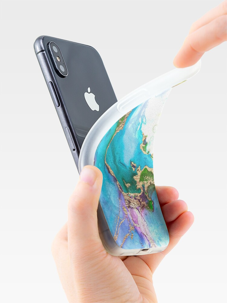 Alternate view of Shiny Blue and Gold Ink Marble  iPhone Case & Cover