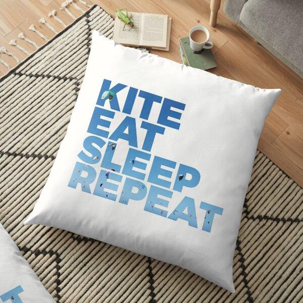 Kite, Eat, Sleep, Repeat | Kitesurf Print Bodenkissen