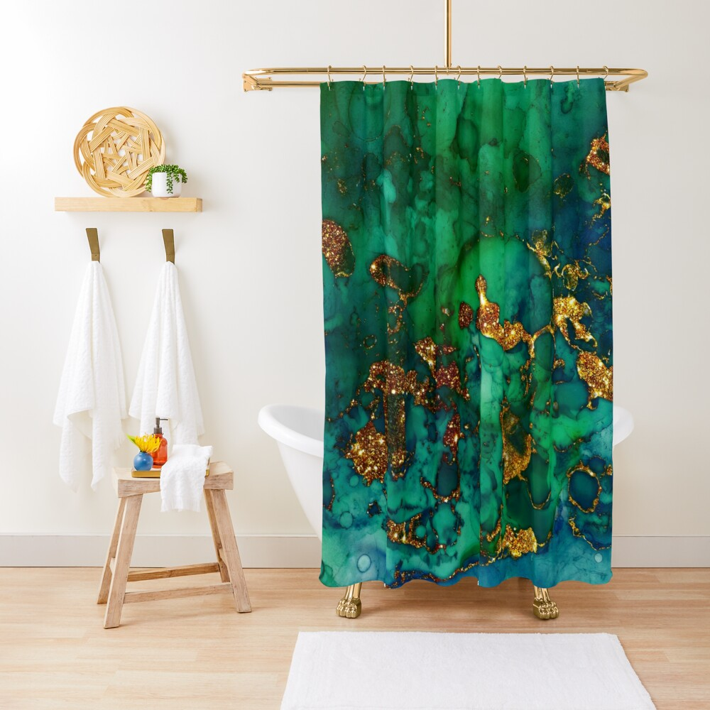 Amazing Blue and Green Malachite Marble Shower Curtain