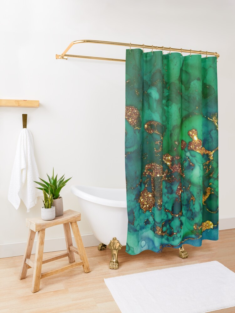 Alternate view of Amazing Blue and Green Malachite Marble Shower Curtain