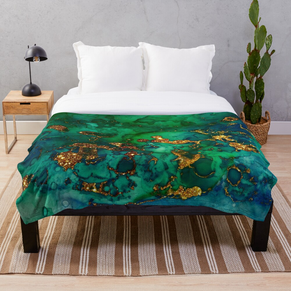 Amazing Blue and Green Malachite Marble Throw Blanket