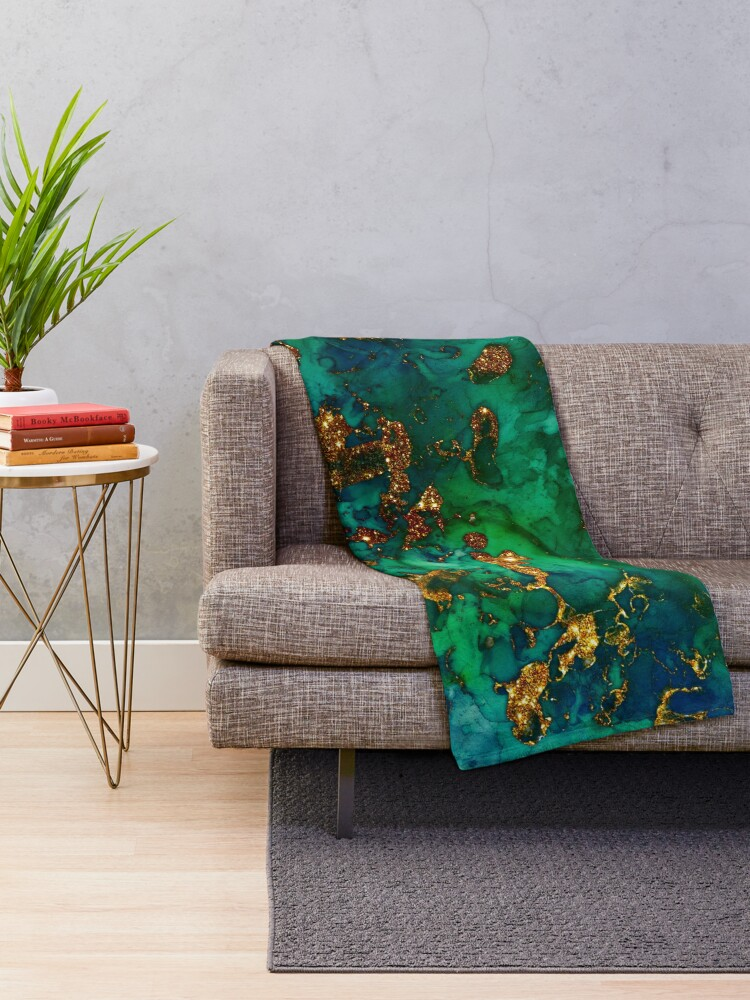 Alternate view of Amazing Blue and Green Malachite Marble Throw Blanket