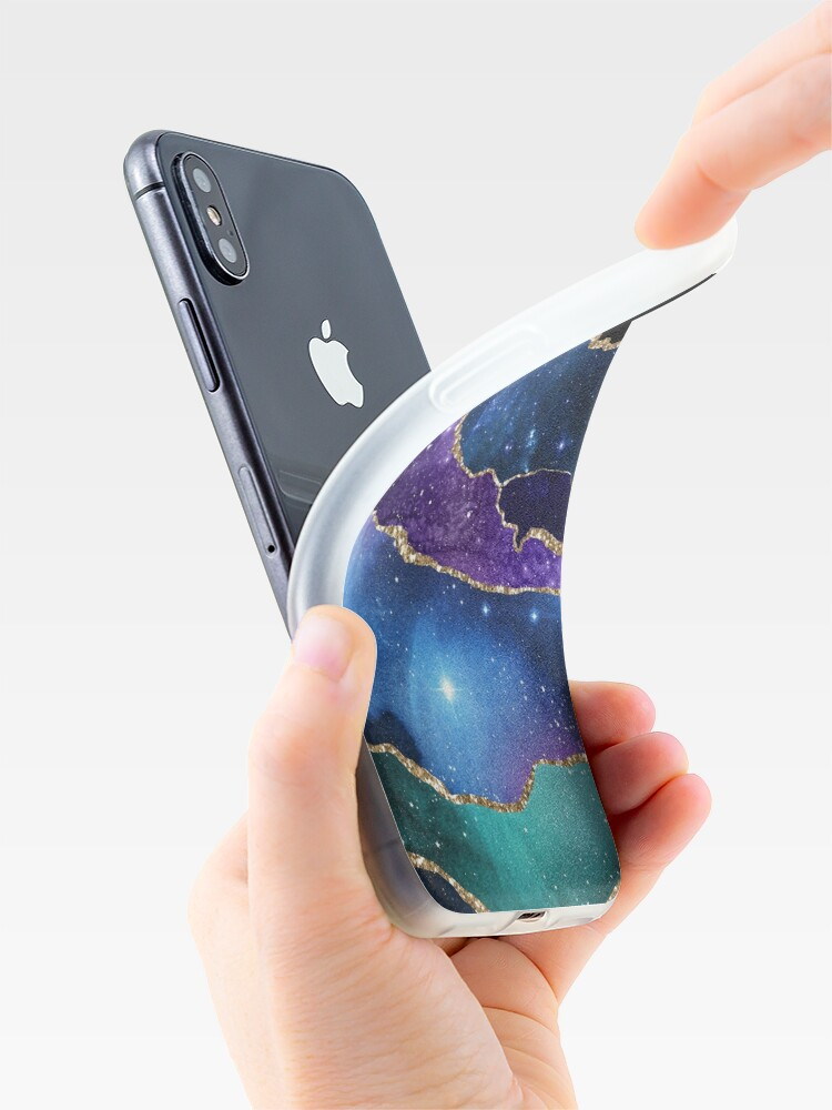 Alternate view of Galaxy Glamour Glitter Marble iPhone Case & Cover