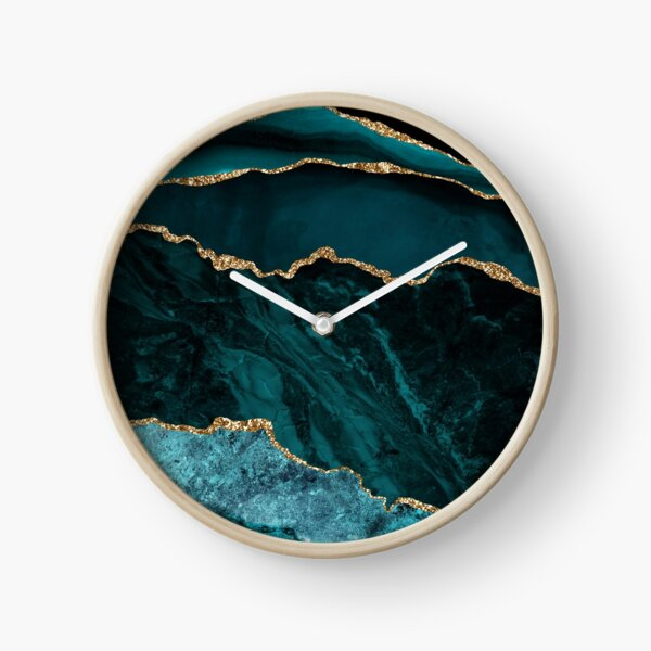 Amazing Blue and Teal Malachite Marble Clock
