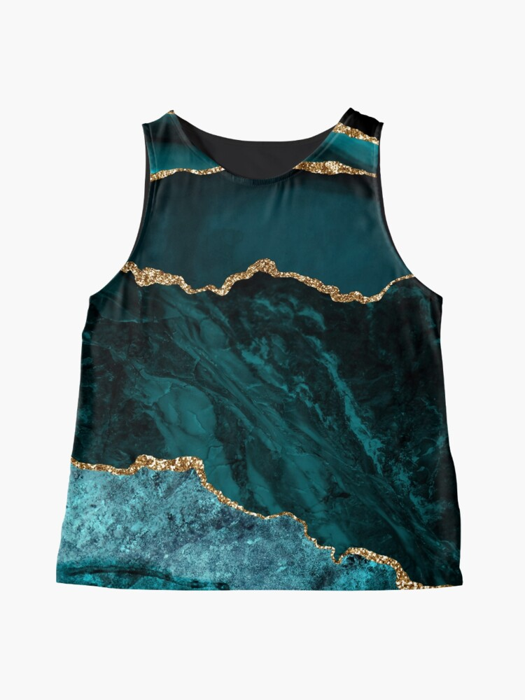 Alternate view of Amazing Blue and Teal Malachite Marble Sleeveless Top