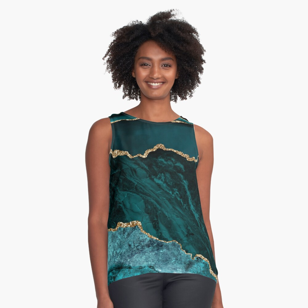 Amazing Blue and Teal Malachite Marble Sleeveless Top